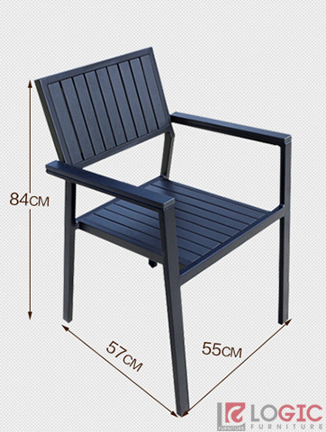 Bộ bàn ghế ngoài trời Composite vuông nan đen  BCP-8080B
