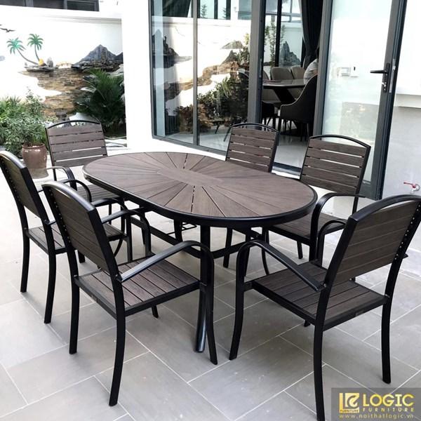 Bộ bàn ghế sân vườn, nhà hàng, cafe chất liệu Composite