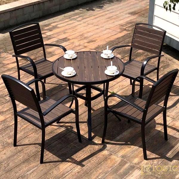 Bộ bàn ghế Composite nan xám khung đen