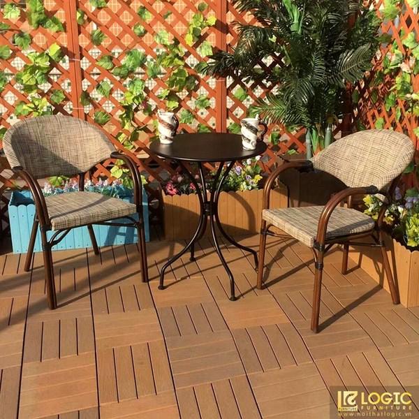 Bộ bàn ghế cafe sân vườn Textilene giả cổ BGC-80KDMN.