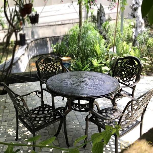 Bàn hợp kim nhôm đúc hình tròn 100 màu đen đồng dành cho sân vườn