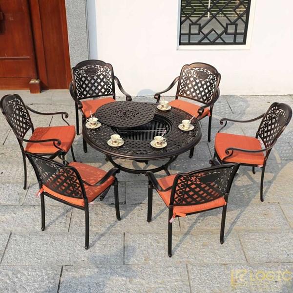 Bộ bàn ghế hợp kim nhôm đúc tích hợp nướng than hoa