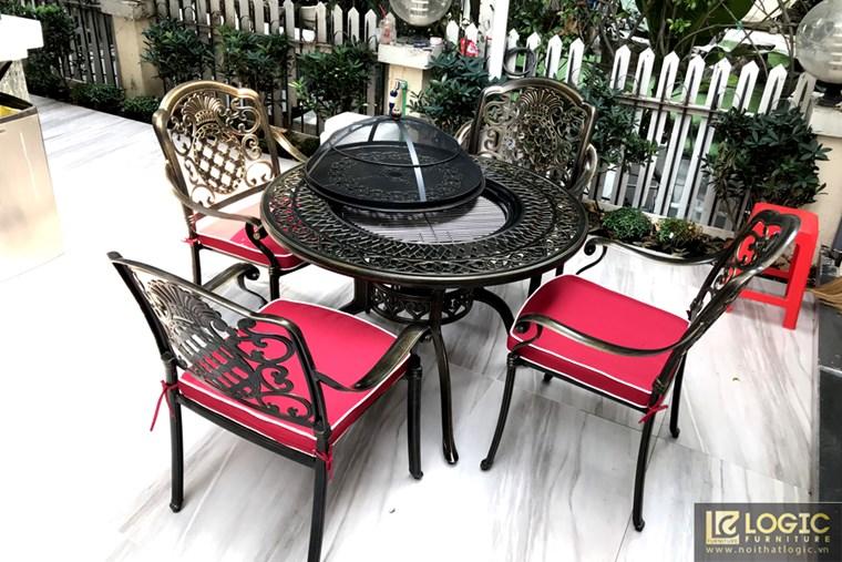 Bàn ghế nhôm đúc sân vườn tích hợp bếp nướng