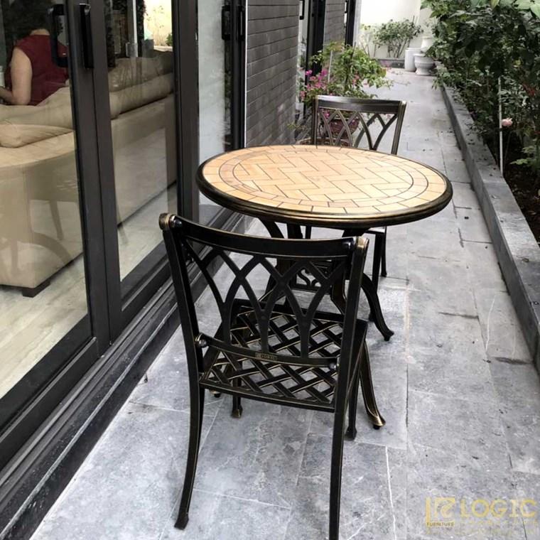Bộ bàn ghế hợp kim nhôm đúc cafe sân vườn mặt đá BND-MD80D