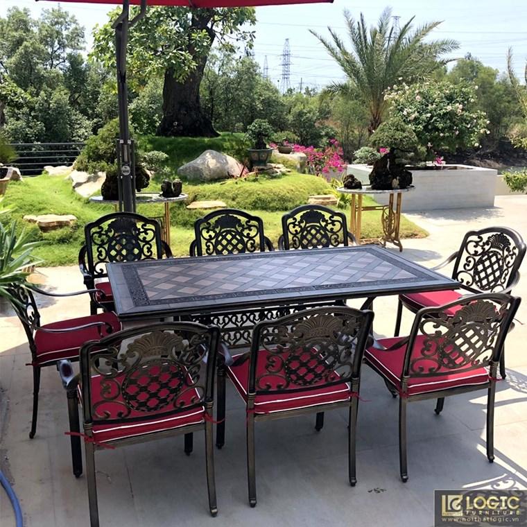 Bộ bàn ghế sân vườn hợp kim nhôm đúc mặt đá sang trọng